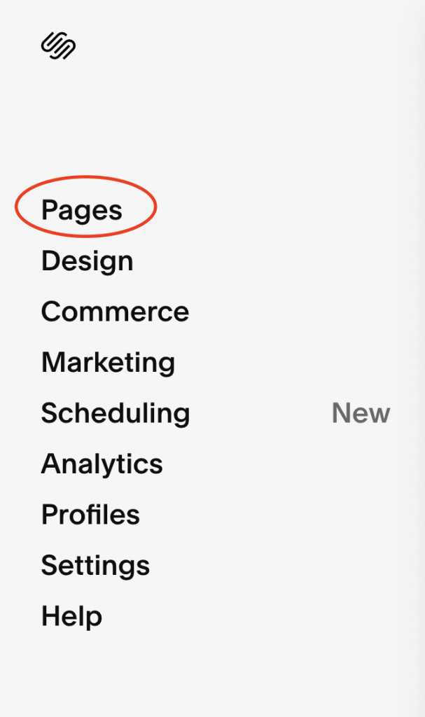 screenshot of squarespace showing pages tab