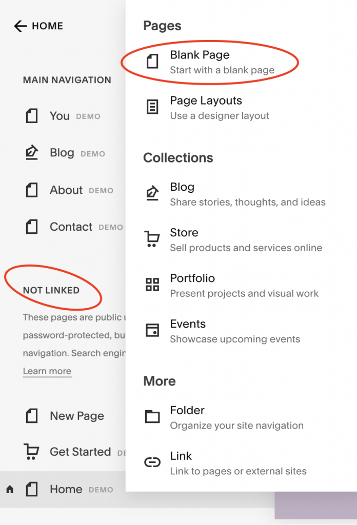 screenshot of squarespace showing blank page button