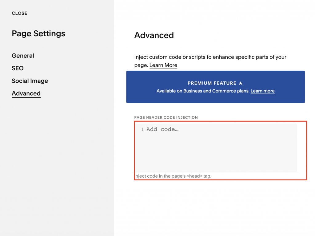 screenshot of squarespace showing advanced code section